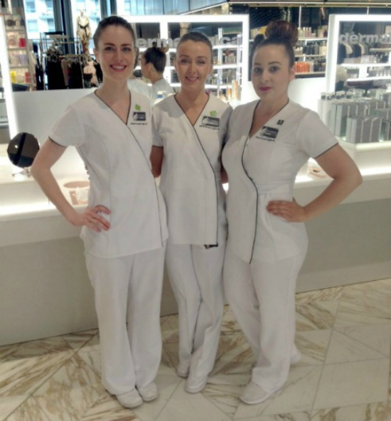 Emma, Emily and Polly who all work at Dermalogica at Harvey Nichols here at the Mailbox